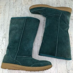 Nine West Green Suede Leather Winter Boots 8